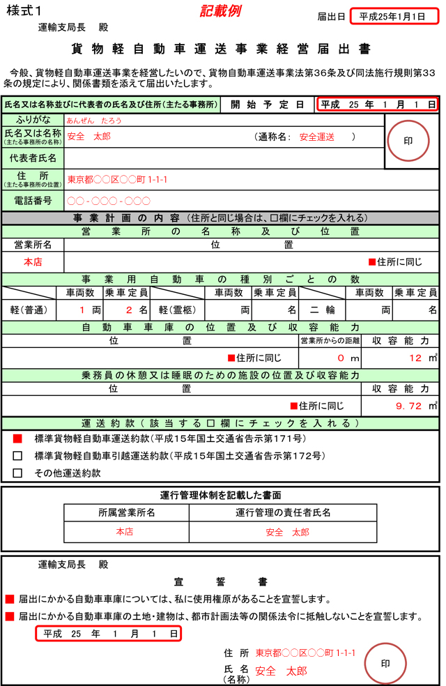貨物軽自動車運送事業申請書記載例